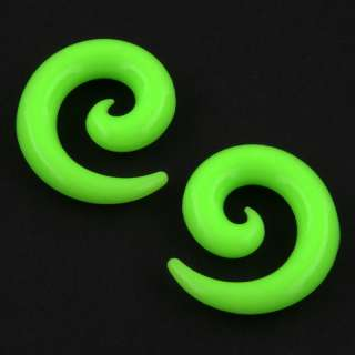 Silicone Ear Skin Neon Lime Green Stretcher Expander PLUGS Gauge
