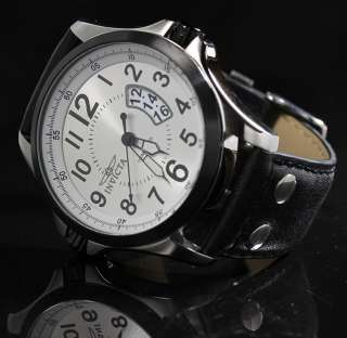 Invicta Men's Silver Dial Black Leather Strap Sports Watch 0788 New