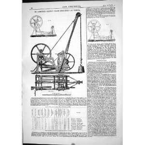 Engineering 1874 De Loriere Patent Crane Vienna Machinery