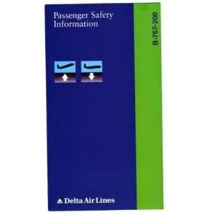 Delta Airlines B 767 200 Safety Card 1995