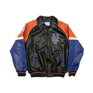 New York Mets Pleather Varsity Jacket   Black/Royal/Orange