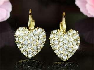 Gold Plate Heart Earrings use Swarovski Crystal SE103