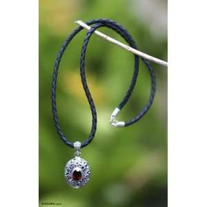 Sterling Silver and Red Garnet Pendant on Leather Necklace