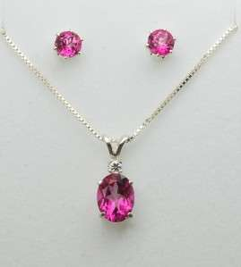 Pink Topaz Pendant / Necklace and Earrings Set   Sterling Silver