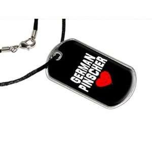 German Pinscher Love   Black   Military Dog Tag Black Satin Cord