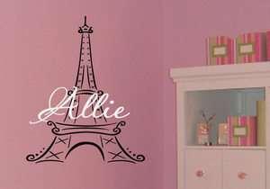 Custom Name Eiffel Tower Girls Kids Room Wall Decal Dec