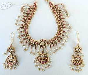 VINTAGE ANTIQUE SOLID 20 K GOLD DIAMOND KUNDAN CHOKER NECKLACE EARRING