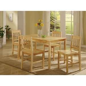 PC. Se Naural Solid Pine Wood Dining Room Kichen able and 4 Chairs