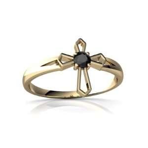 14K Yellow Gold Round Genuine Black Onyx Cross Ring Size 4