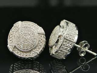 MENS WHITE GOLD FINISH CUBES 3D DIAMOND EARRINGS STUDS