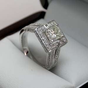 90 CTW SI1 PRINCESS DIAMOND 14K SOLID WHITE GOLD RING