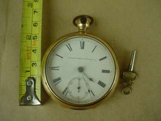 Elgin National Watch co. Antique 1877 Pocket Watch w/Wind up Key Nice