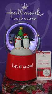 HALLMARK PENGUINS CHRISTMAS TREE SNOW GLOBE NWT