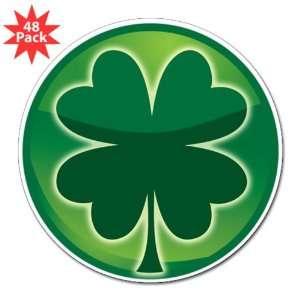 3 Lapel Sticker (48 Pack) Shamrock Four Leaf Clover
