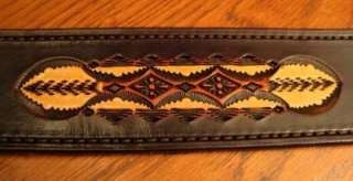 Hand Tooled Leather Guitar Strap   DayBreak Pattern