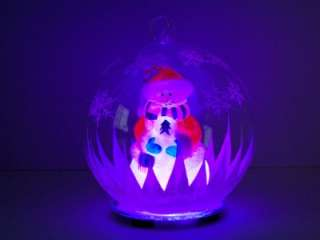 Glass Globe Christmas Ornament Snowman in Santa Suit New 2011