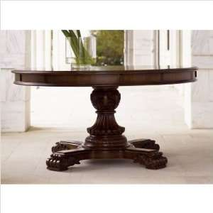 Larchmont Round Formal Dining Table in Medium Brown Finish Furniture