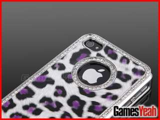 Bling Rhinestone Leopard Leather Hard Case Cover For iPhone 4 4G 4S