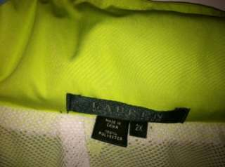 Ralph Lauren Bright Green Windbreaker jacket 2X Plus size EUC