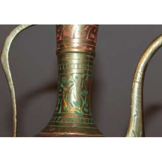 VINTAGE ARABIC ISLAMIC FLORAL ENGRAVED BRASS TEA COFFEE POT PITCHER