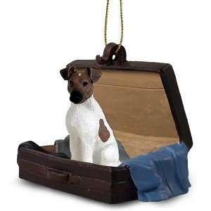 /White Fox Terrier Traveling Companion Dog Ornament
