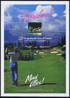 1985 United Airlines Maui Hawaii Kapalua Golf Ad