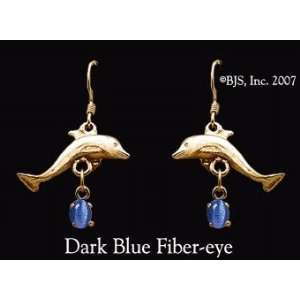 Dolphin Gemstone Earrings, 14k Yellow Gold, Dark Blue set