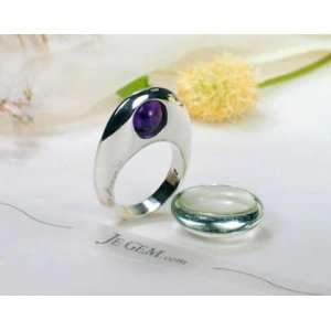Designer Sterling Silver African Amethyst Spindle Ring Jewelry
