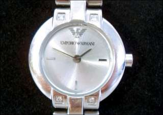 Stainless Steel Emporio Armani Genuine Diamond Designer Evening Watch