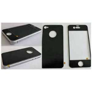 Premium Chrome Aluminum Skin Cover Front and Back for Apple Iphone 4