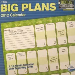 Big Plans 2012 Wall Calendars 12 X 12 Office Products