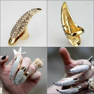 1pc Vintage punk gold claw ring finger nail rings full crystal
