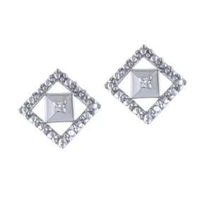 Diamond & White Gold Square Shaped Stud Earrings Jewelry
