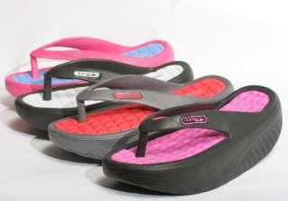 New Womens Rocker Sole Flip Flops Sandals Shoes Black White Fuchsia