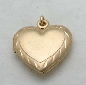 Estate 14k yellow gold HEART locket pendant engraved