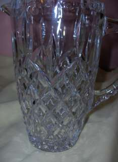 Vintage Pressed Glass Diamond Pattern Pitcher