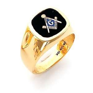 Oval Blue Lodge Ring   10k Gold/10k Yellow Gold Jewelry