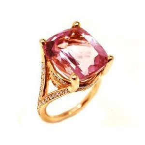 18k Pink Gold Cushion Cut Amethyst & Diamond Ring Size 5.75 Ct.tw 18