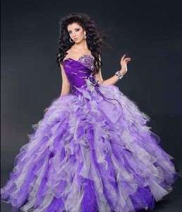 Purple Ball Gown Organza Sweetheart Wedding Dress/Quinceanera Dress