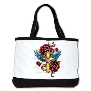 Shoulder Bag Purse (2 Sided) Black Roses Cross Hearts And Angel Wings