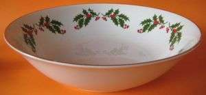 Christmas Holly All The Trimming 1 Round Vegetable Bowl White Cherries