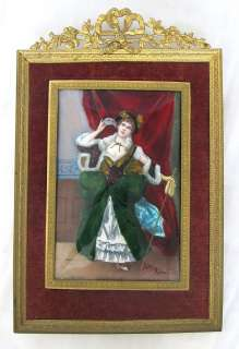 19th Century French Hand Painted Enamel on Copper Plaque in Bronze