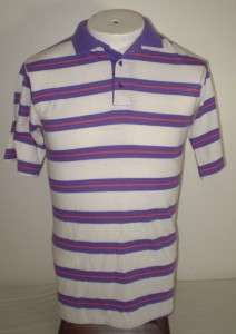 vtg 80s mens SKINNY FIT POLO shirt White Stripes USA S