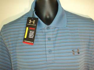 New Mens Under Armour Heatgear Golf POLO shirt LARGE BLUE FREE US