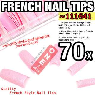 24 Glitter Pre Design 70 pcs Set French Acrylic Half False Nail Tips