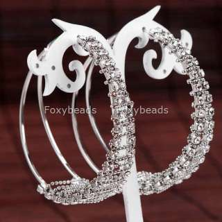 Silver Plated Crystal Round Hoop Huggie Earring Cool 2P