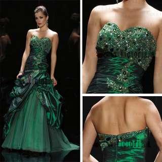 Green Sweetheart Applique Beading Prom Dresses/Ball gown Size 6 8 10