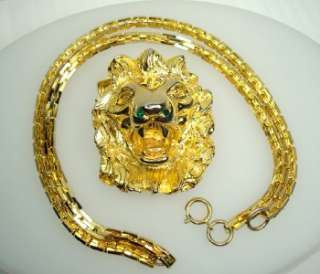 Judith Leiber Lg Lion Head Brooch Pendant Necklace Gold Tone Green