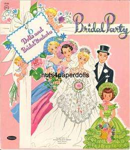 VINTAGE Bridal Party PAPER DOLLS LAZER REPRO ORG SIZE