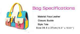 Fashion Women Summer Colorful PU Leather Hobo Satchel Clutch Handbag